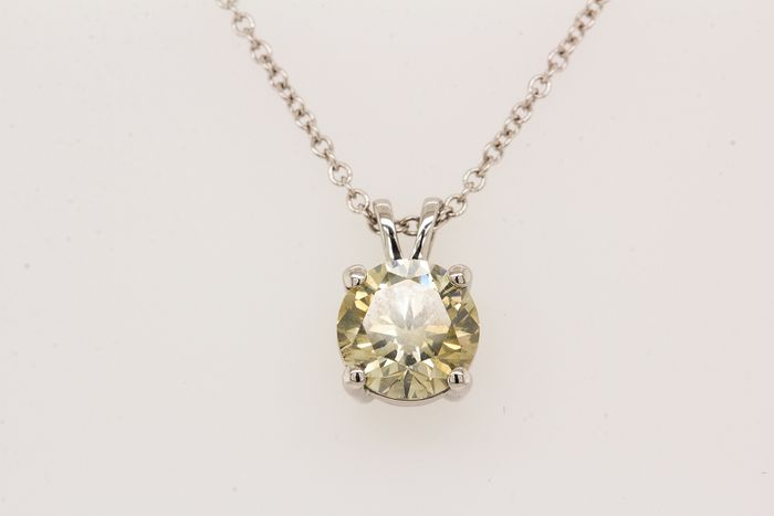 18 kt. White gold - Necklace with pendant - 1.03 ct Diamond - SI1 - No Reserve Price