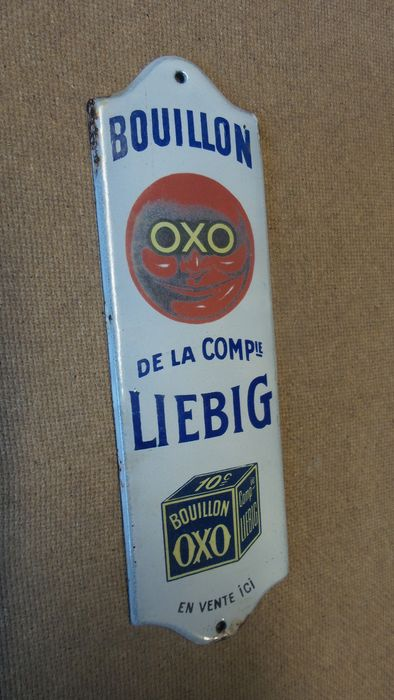 OXO Liebig plaque de propreté door plate (after Cappiello) circa 1910 - Enamel