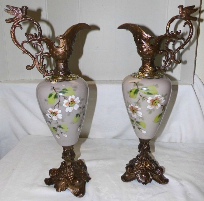 2 beak jars with painted opaline - Art Deco - opaline