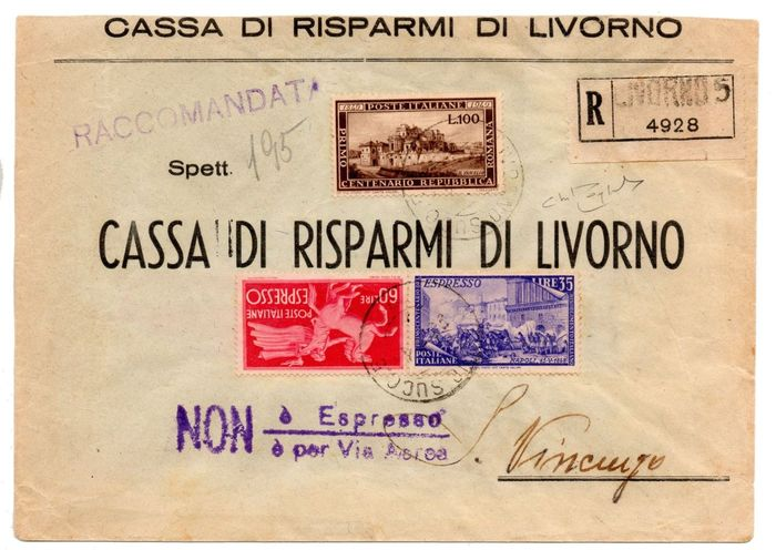 Italy 1947 - Envelope of the Roman Republic + Express stamps - RARE - Raybaudi