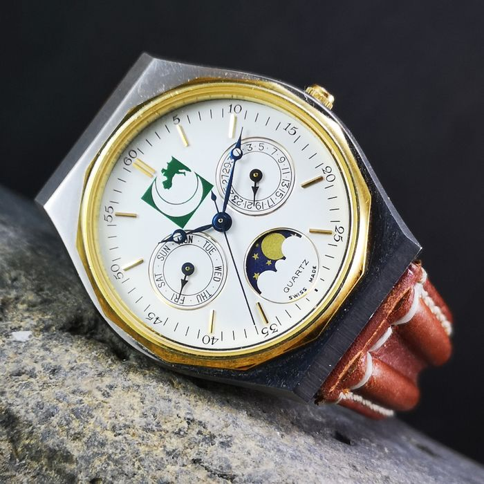 NO NAME (Green Crescent Europe?) - Day & Date Moonphase- PUW 2550-2590 - 751 - Heren - 1990-1999