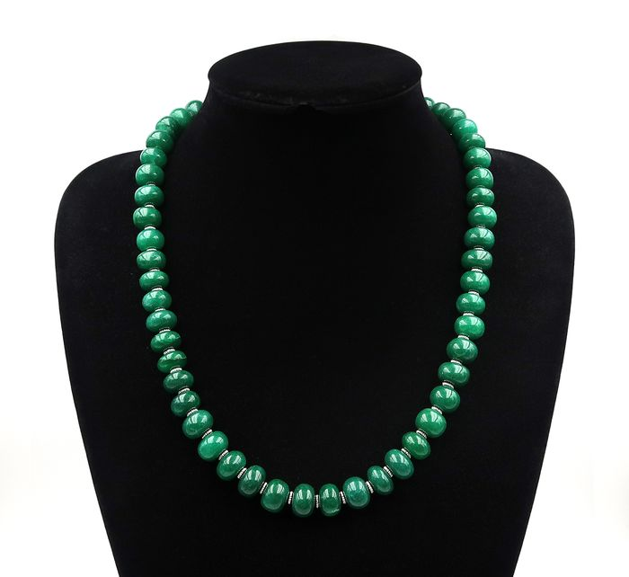 Emerald - Necklace with gold clasp 14K - 51cm - 125 g