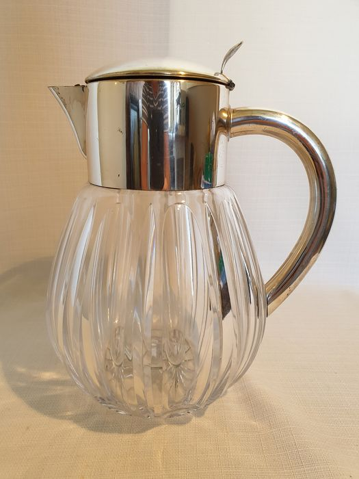 Cut crystals 3 liters. juice jug / water jug with ice holder and fruit strainer - Silverplate