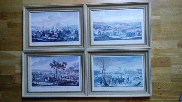 Battles of Napoleon (4) Hohenlinden, Ulm, Saalfed, Abensberg (Reproductions End / 20th of Engravings) - Paper, white wood frame