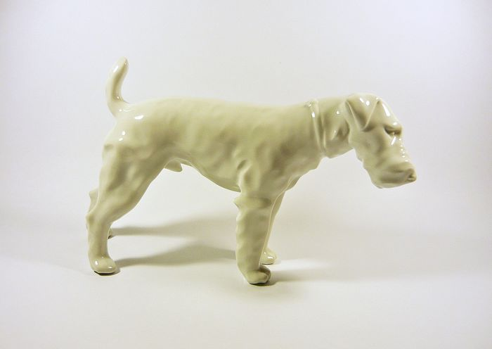 Herend - Art Deco Fox Terrier Dog Figurine 31 cm.