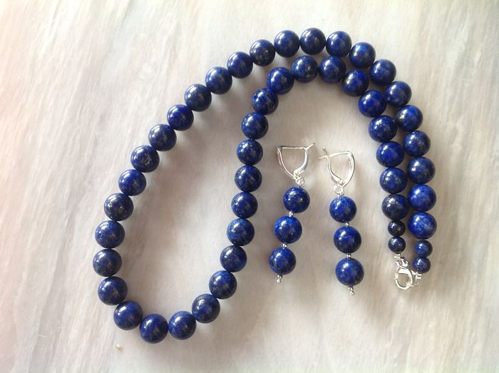 Lapis Lazuli Necklace, Earrings 925 - 89 g
