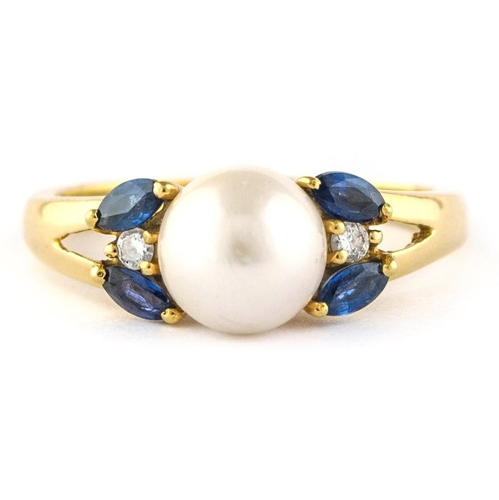 Antique  - 18 kt. Yellow gold - Ring Pearl - Diamond, Sapphires
