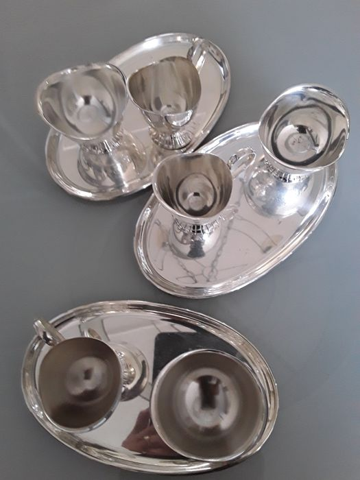 Douwe Egberts  - DE - cream set (9) - Art Deco style - Silverplate