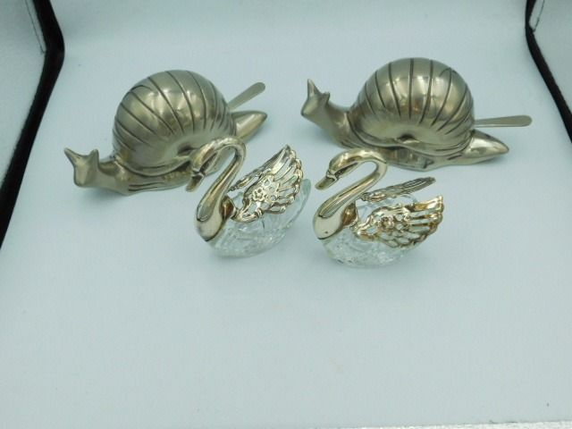 Salt barrel in the shape of swans and butter dish snail (4) - Silvered