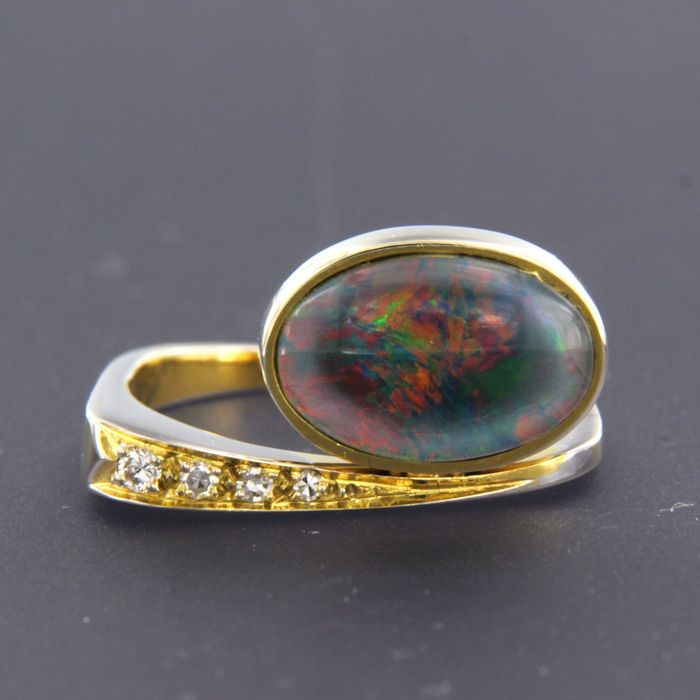 14 kt. Yellow gold - Ring Opal - Diamond