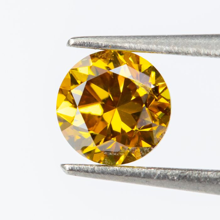 Diamond - 0.33 ct - Natural Fancy VIVID Orange-Yellow - VS2  *NO RESERVE*
