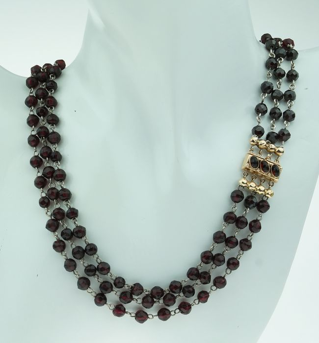 Antiek - 14 kt. Yellow gold - Necklace Garnet