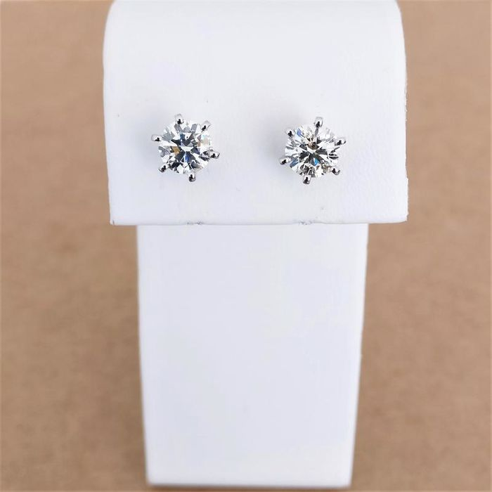 18 kt. White gold - Earrings - 2.03 ct Diamond