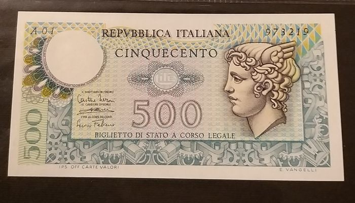 Italy - 500 Lire 1974 - Serie A 01 - Gigante BS 26 AA - R2