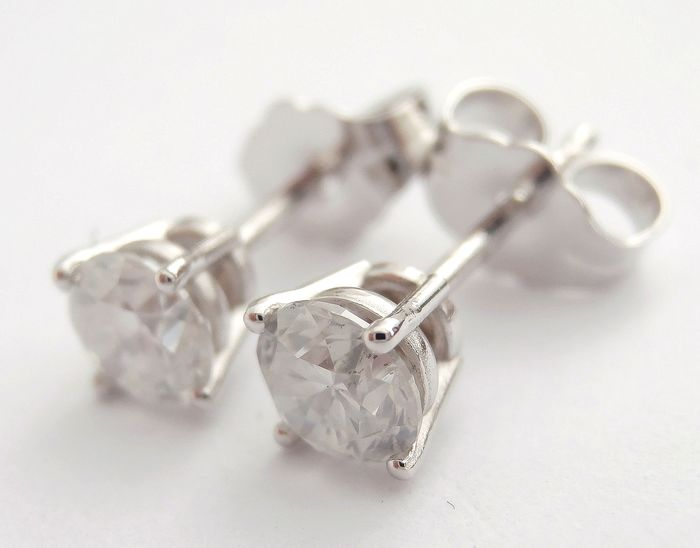 14 kt. White gold - Earrings - 0.75 ct Diamond