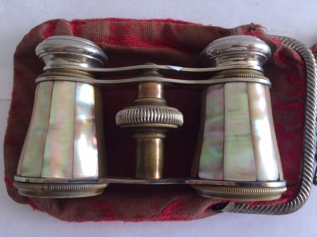 Chevalier, French stage viewer with mother-of-pearl and brass with original bag - Brass, Mother of pearl