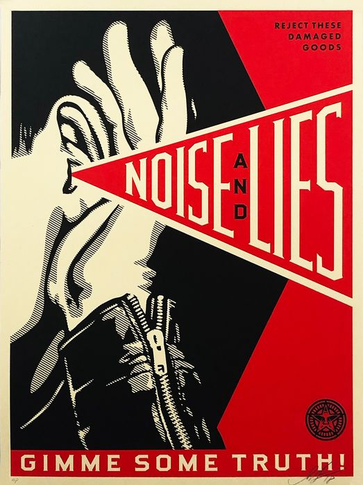 Shepard Fairey (OBEY) - 'Noise and Lies' (red)