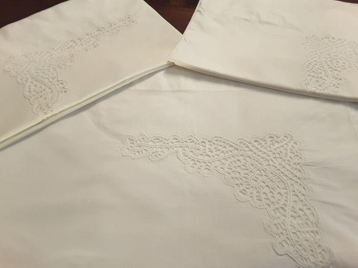 sheets with pillowcases (3) - Cotton - Second half 20th century