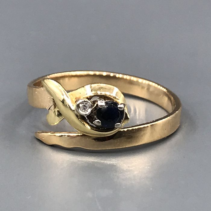 18 quilates Oro amarillo - Anillo - 0.20 ct Zafiro - Diamantes