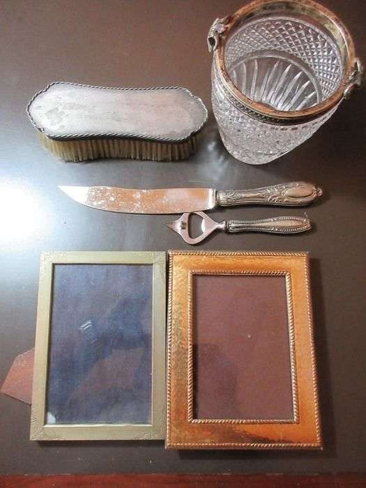 Bottle opener, Cake knife, Crumb brush, Wine cooler (6) - .800 silver