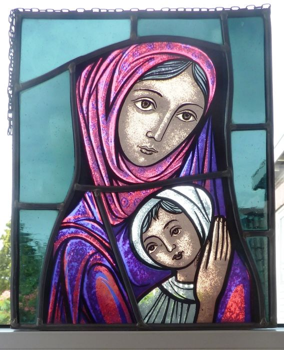 "window hanger ""Mary with baby Jesus"" - Stained glass"