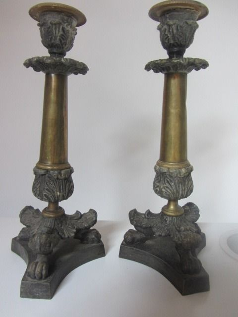 Two candle holders, early 20th century (empire? - brass bronze metal