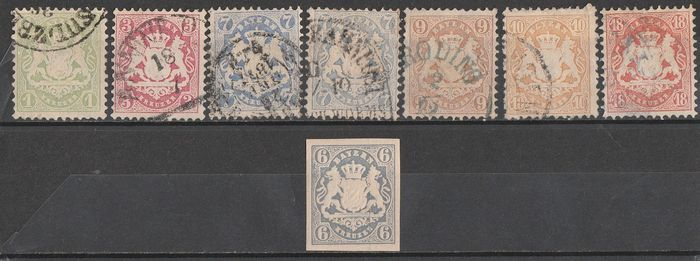 Bavaria 1870/1900 - embossed print with different widths of the lozenge 14/17 - Unificato 23/I-24-26-26/I-27/I-28-30-26/I non dent.+38/47+58-60-61-62-63-64-66-67-68-69-71+72/75-75/85-86/91