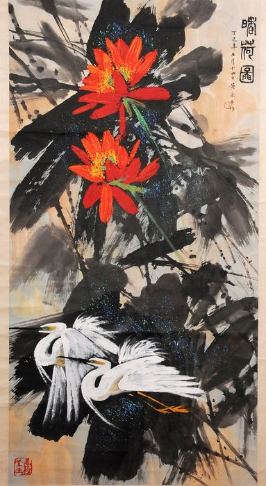 Asian scroll painting, hand drawn flowers and bird painting - Rice paper - In style of Huang yongyu - China - Late 20th century
