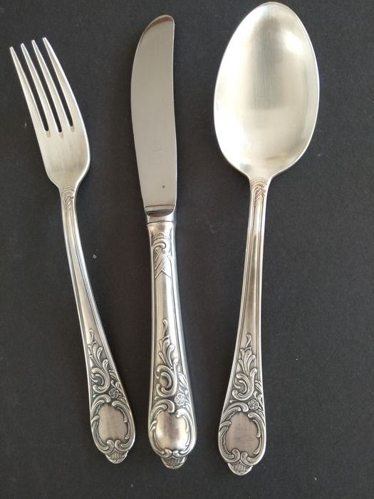NICA Solingen - 18 pieces, heavily silvered (100) Baroque cutlery for 6 persons - Baroque - Stainless steel - silvered (100)