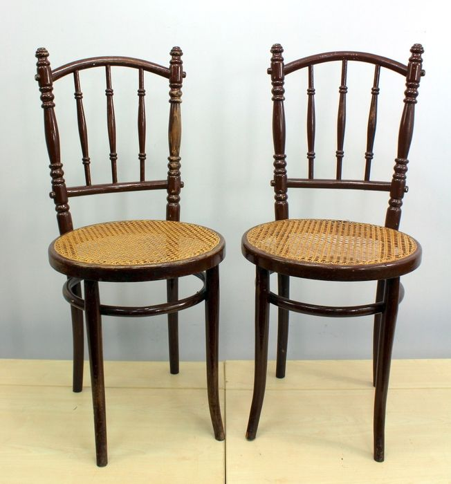 Pair of chairs with bamboo seat - beech wood