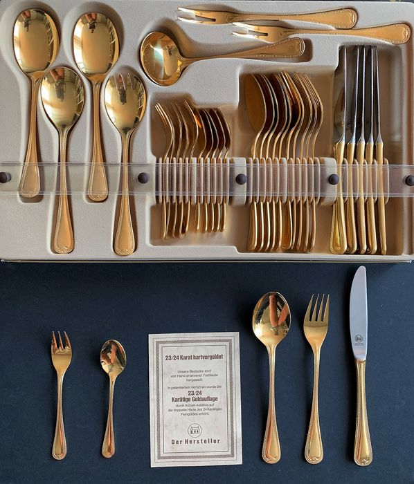 Olympia - OLYMPIA cutlery, complete, 6 people, Chic design with pearl edge (37) - 18/10 Stainless steel, chrome steel and fully gold-plated 23/24 carat gold, drawer insert