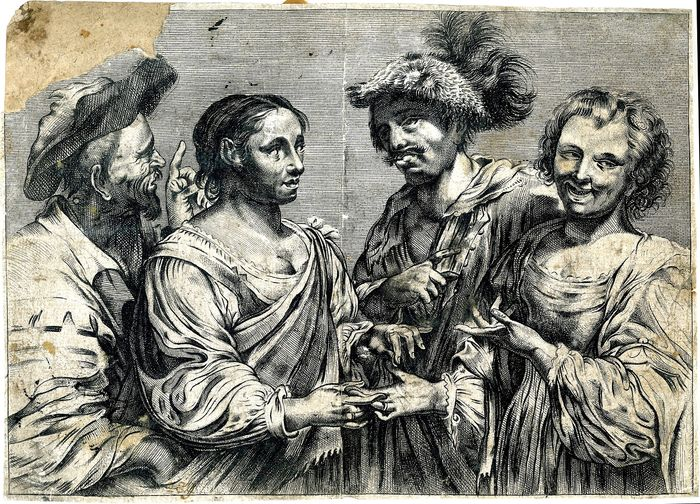 Anonymous after Simon Vouet - Fortune-teller being pickpocketed