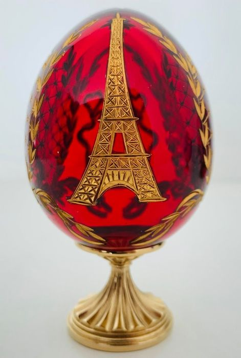 "Fabergé - Faberge Imperial Ruby Red Crystal ""Eiffel Tower"" Egg - Rare Signed Early number N° 0001/1000 - Crystal, 24 carat gold plated"
