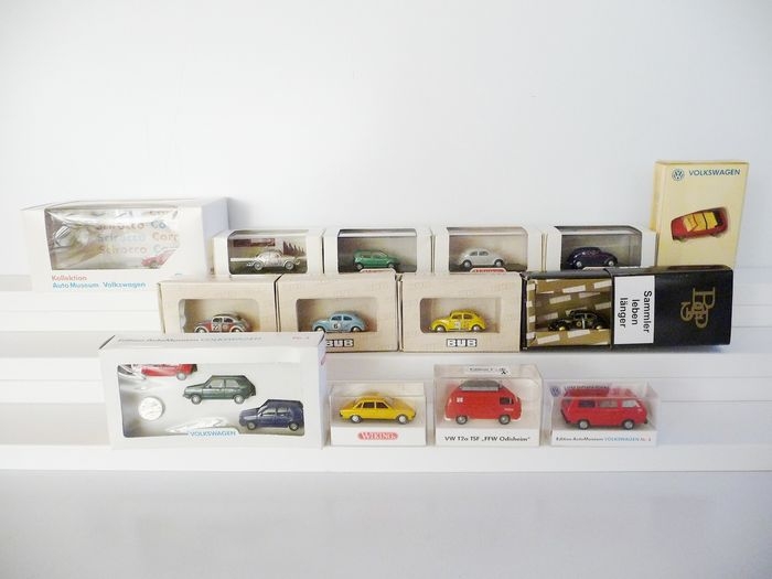 Wiking, BUB 1:87 - Model cars - 13 Volkswagens of which 7 Beetles / special models