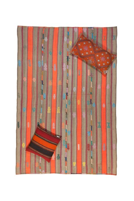 Anatolian Striped Kilim Rug and Two Kilim Pillow - Kelim - 265 cm - 180 cm
