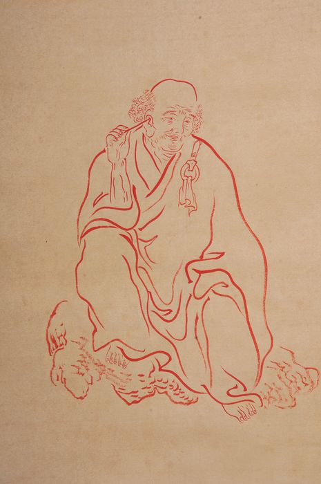 Asian scroll painting, hand-painted bodhisattva  - Rice paper - In style of the artist - China - Second half 20th century
