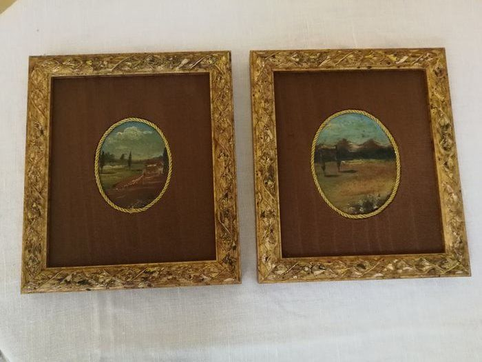 Miniature paintings (2) - Wood and silk - First half 19th century