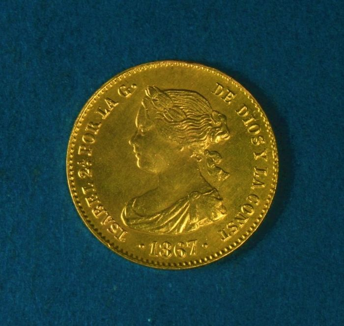 Spain - Monarchy - 4 Escudos Isabel II (1833-1868) -  Struck at Madrid's mint in the year - 1867 - Gold