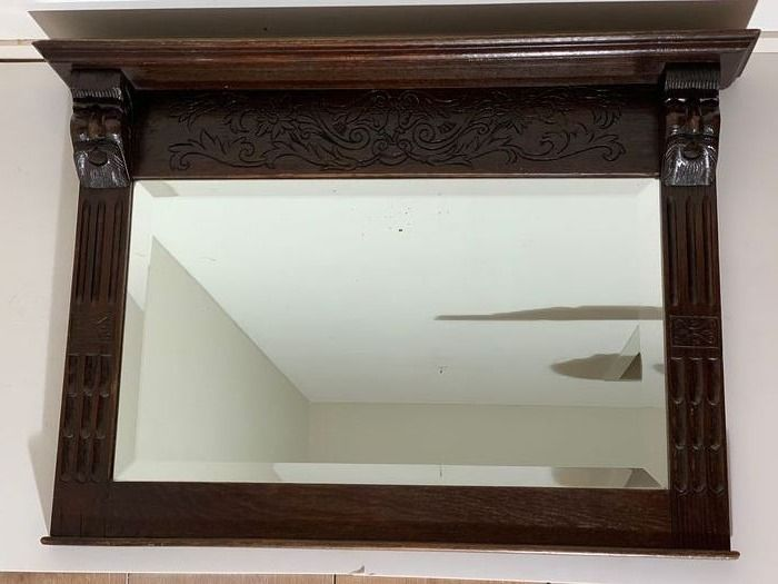A facet 67 cm large Mirror with console board supported by grimace beard men - faceted glass, hand-carved oak wood