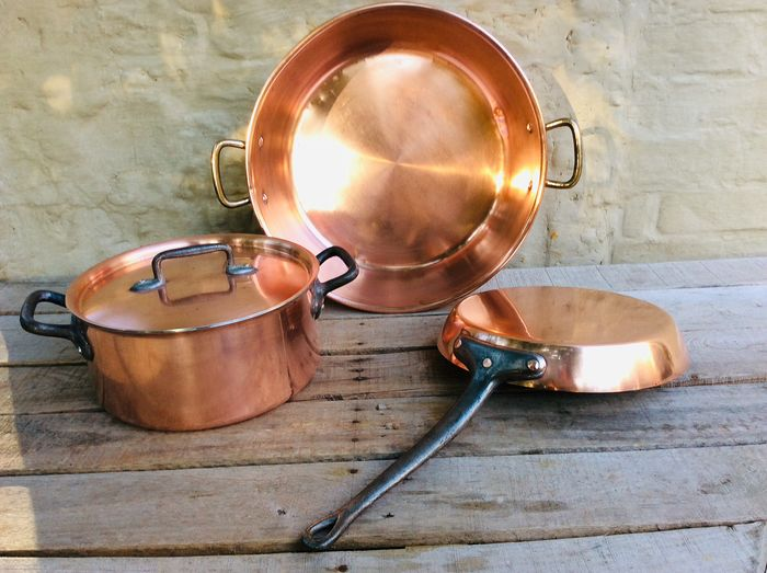 Jam bowl, frying pan, casserole with lid (3) - Red copper