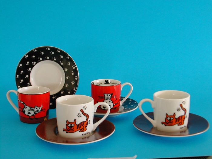 Keith Haring - KONITZ - Cups and Saucers (8) - Pop Art - Fine Porcelain