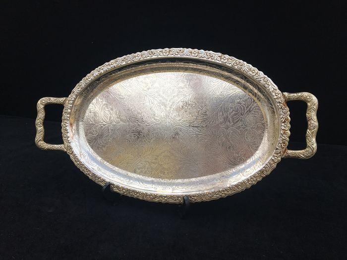 Large oval tray with 2 handles - Art Nouveau - Silverplate