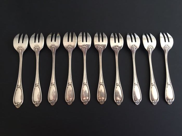 ERCUIS - ERCUIS - 10 forks with oyster - Pompadour model - Silver plated