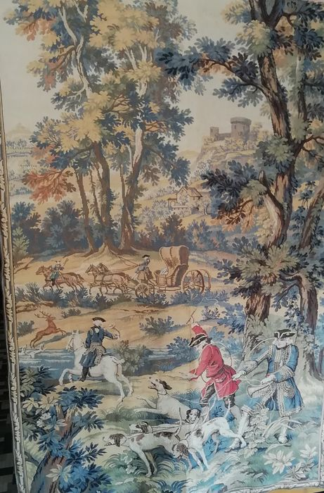 "Fabric tapestry, marked ""JP"", depicting a fox hunting scene - made in France in the mid-20th century"