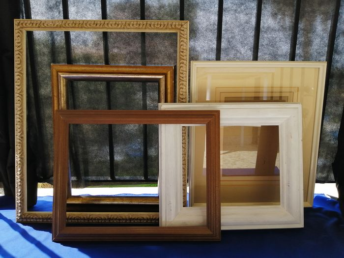 Lot of 5 large frames for paintings (5) - Wood