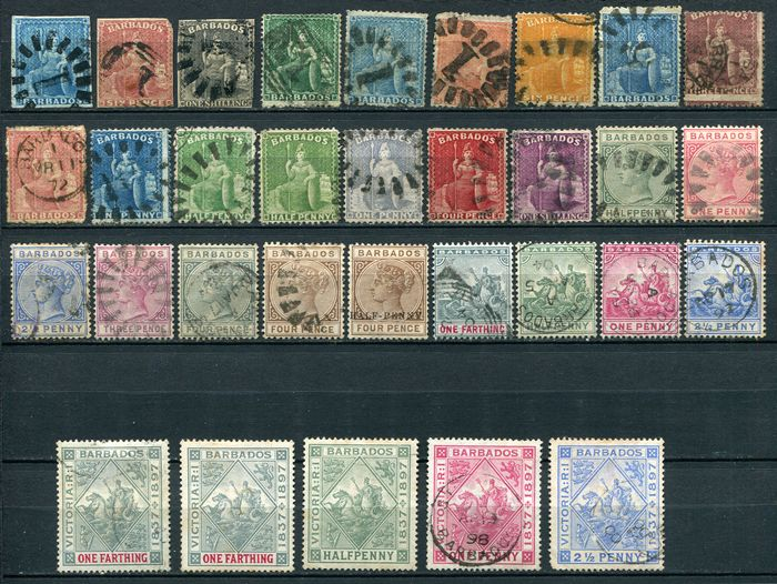 Barbados 1857/1898 - Barbados and Cook Islands, lot with 44 classic stamps - Yvert entre n°1 et n°63