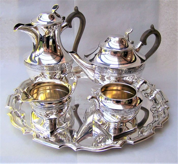 Cooper Brothers of Sheffield - Victorian English Silver Plated Tea Set (5) - Victorian - Silver plated