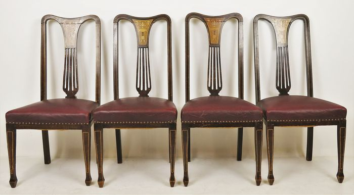 Series of 4 Edwardian dining room chairs - Leather, Mother of pearl - Approx. 1910