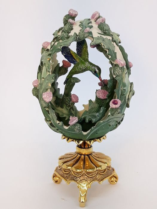 House of Fabergé  - Franklin Mint - Kolibrie-ei - Beauty in the Garden - beeldje - Hars/polyester, Porselein, Verguld