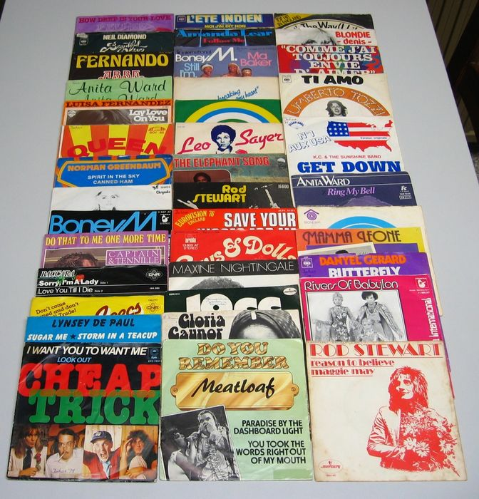 10cc, Meat Loaf, Rod Stewart - Multiple artists - 40 x Singles in pop rock from the 70's - Multiple titles - 45 rpm Single - 1970/1979